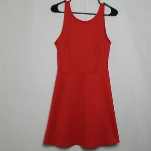 Divided Red Open Back A Line Dress